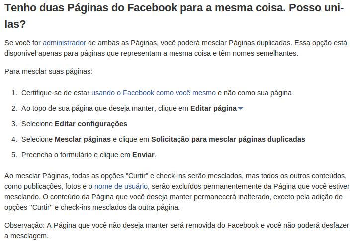 Mesclar páginas no Facebook