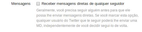 Mensagem privada no Twiter