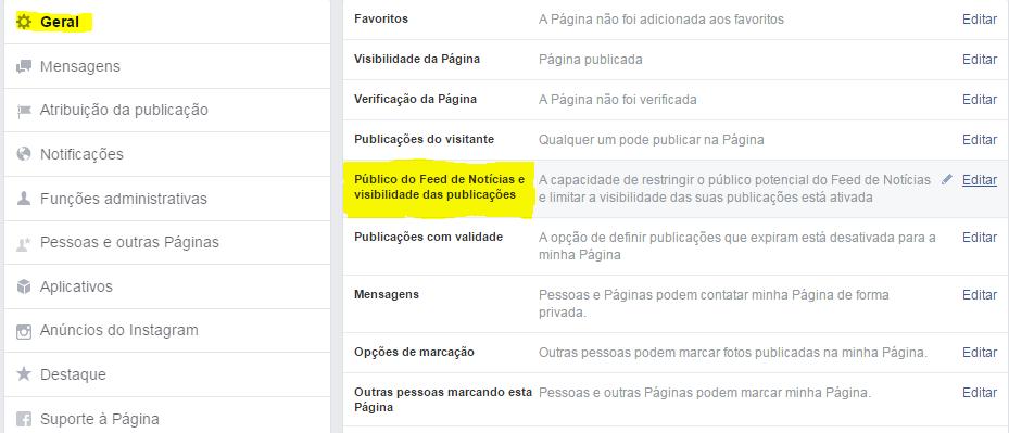 Alcance organico no facebook tela configuração