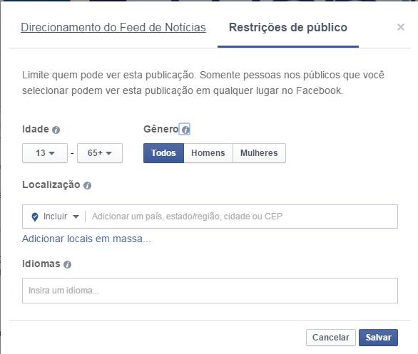 Alcance organico no facebook tela personalização de público II