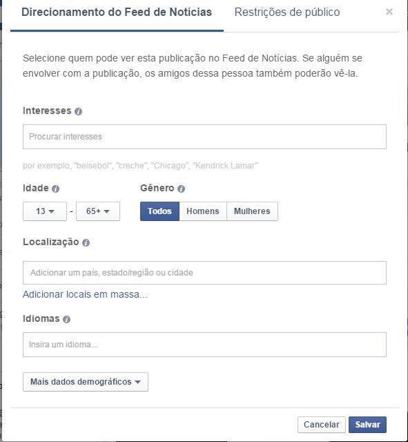 Alcance organico no facebook tela personalização de público